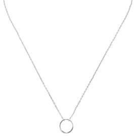 Ketting open cirkel (witgoud plating)