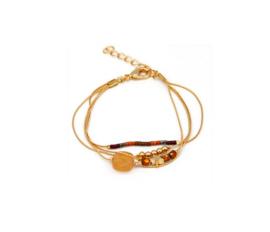 Armbandje Casa de Chi steentje oranje/bruin