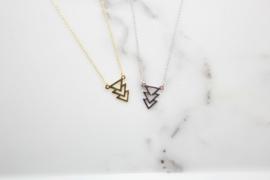 Ketting dubbele driehoek (goud plating)