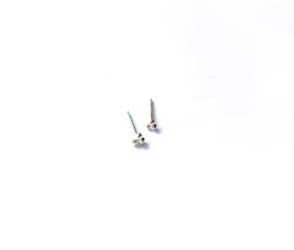 Oorknopje stud triple dots (3 mm/PER STUK/sterling zilver 925)