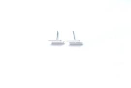 Oorbellen dubbele bar (sterling zilver 925)