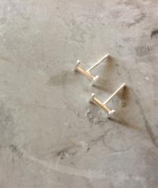 Stud oorbellen 'dubbel' bar (sterling zilver 925)