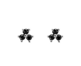 Oorbellen triple dots zwart steentje