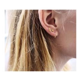Oorbellen stud earrings double bar gold- en silverplated
