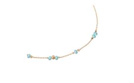 Enkelbandje kraaltjes turquoise blauw en balletjes goud
