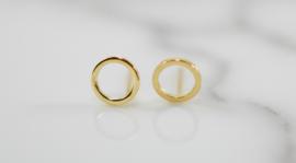 Oorbellen open cirkel goud plating (8 mm)