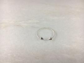 Ring dubbel spike (sterling zilver 925)