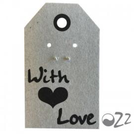 Ozz Oorbellen 'bal' 925 sterling silver op wenskaartje van Ozz (With love)