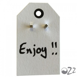 Ozz Oorbellen  'kubus' 925 sterling silver op wenskaartje van Ozz (Enjoy)