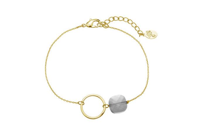Armband open cirkel met grijs steentje