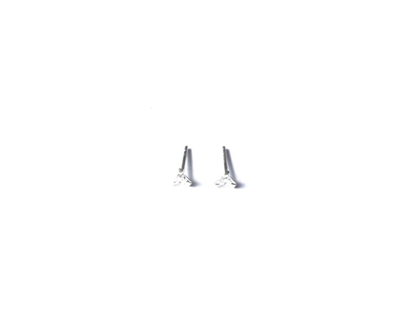 Oorknopje stud driehoekje met kristal 3 mm (PER STUK)