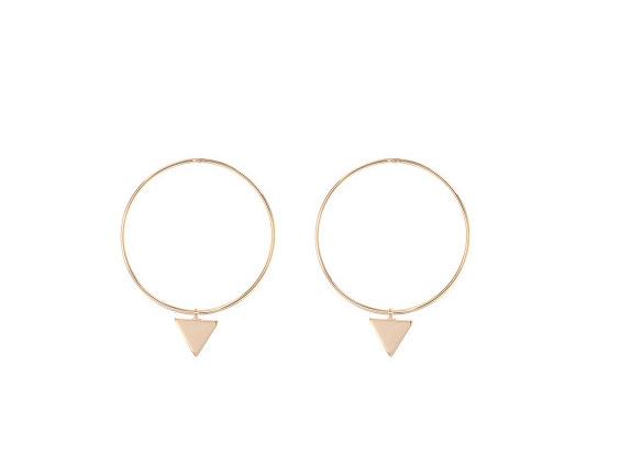 Oorringen met driehoek (goud plated)