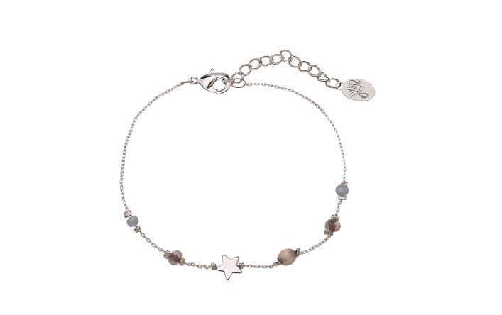 Armband ster en steentjes grijs