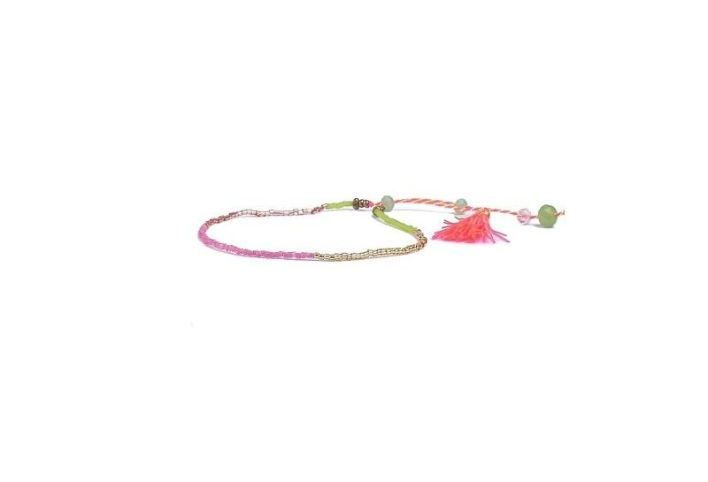 Ibiza armband rice beads kleur rose