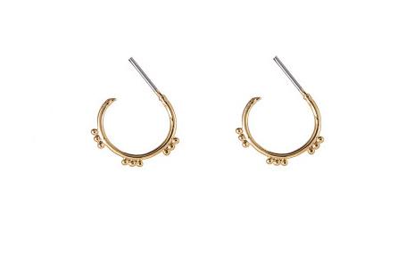 Tibetan style oorringetjes met dots (goud plated)