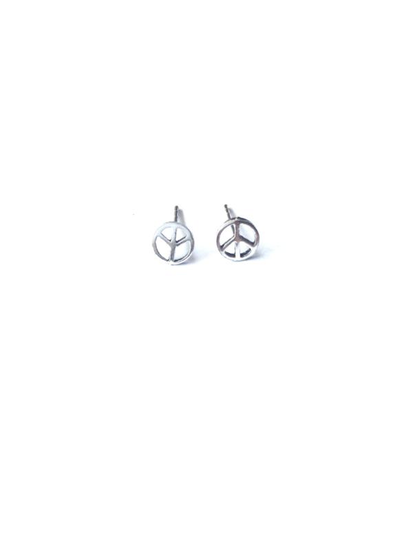 """Ozz Oorbellen """"peace"""" small 925 sterling silver op wenskaartje van Ozz"""
