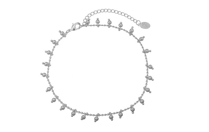 Enkelbandje balletjes zilver