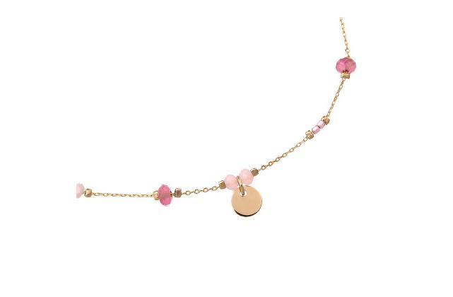 Enkelbandje roze steentjes