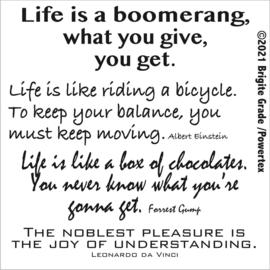 Stencil: Life is a boomerang 15x15 cm