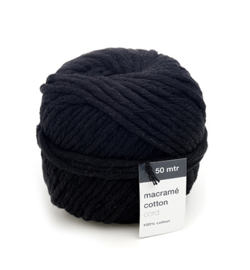 Macrame Cotton Cord, Noir 	50mtr x 5mm