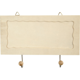 Langwerpige houten lijst met 2 stuks metalen haken.