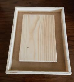Houten Lijst 19 x 23 cm  met los plankje 12 x 17 cm