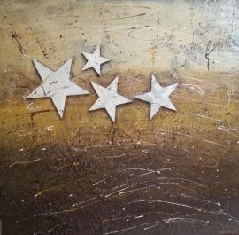 Oker schilderij met sterren