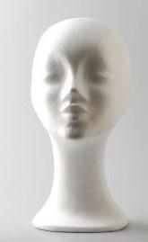 Piepschuim hoofd vrouw halflange hals 32cm
