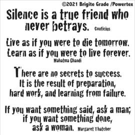 Stencil: Silence is a true friend 15x15cm
