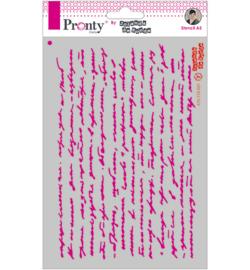 Script text stencil A5