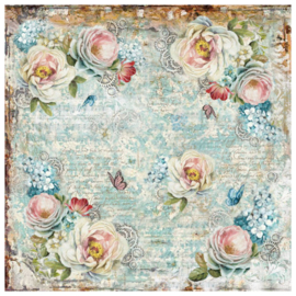 Single napkin White roses and gearwheels 50 x 50 cm