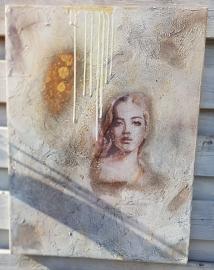 Schilderij Lady silkpapier