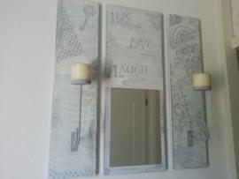 3 delige spiegel met kandelaars