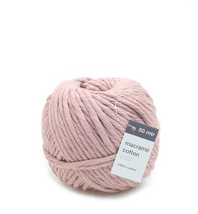 Macrame Cotton Cord, Roze 150 mtr x 5 mm