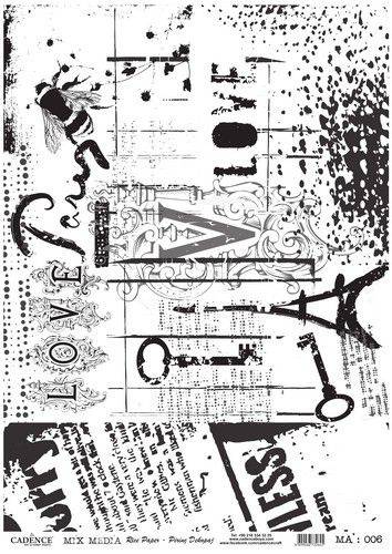 Cadence rijstpapier love - Paris - zwart