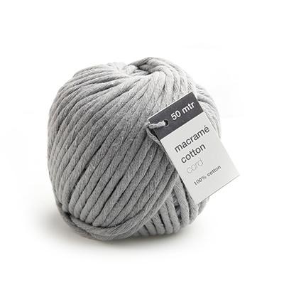 Macrame Cotton Cord, Grijs 50mtr x 5mm