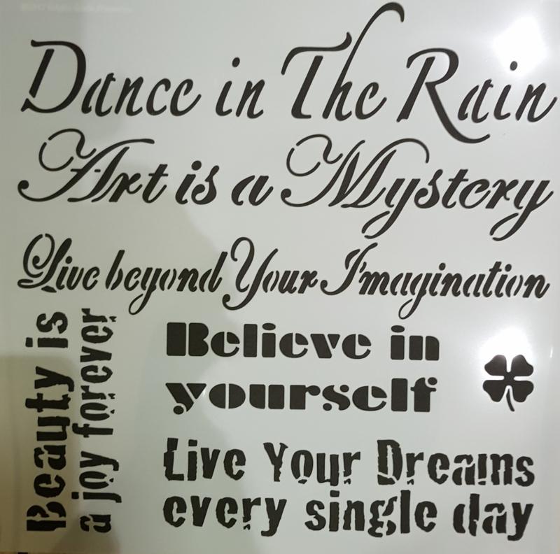 Dance in the rain stencil 30 x 30 cm