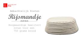 Rijsmandje Riet Ovaal (33 x 13,5) - voor een deeg van ca 1000 gr