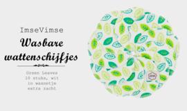 Wattenschijfjes - wasbaar - wasnetje met 10 stuks - Green Leaves - EXTRA ZACHT