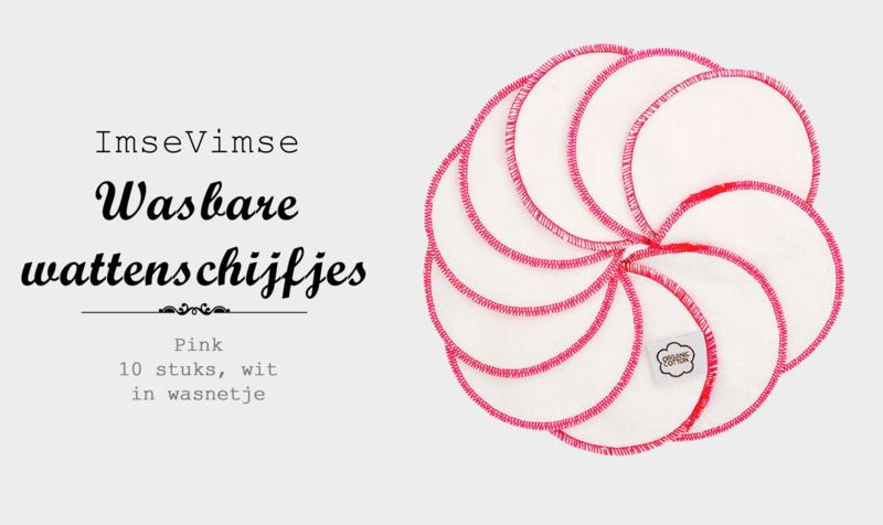 Wattenschijfjes - wasbaar - 10 stuks - pink