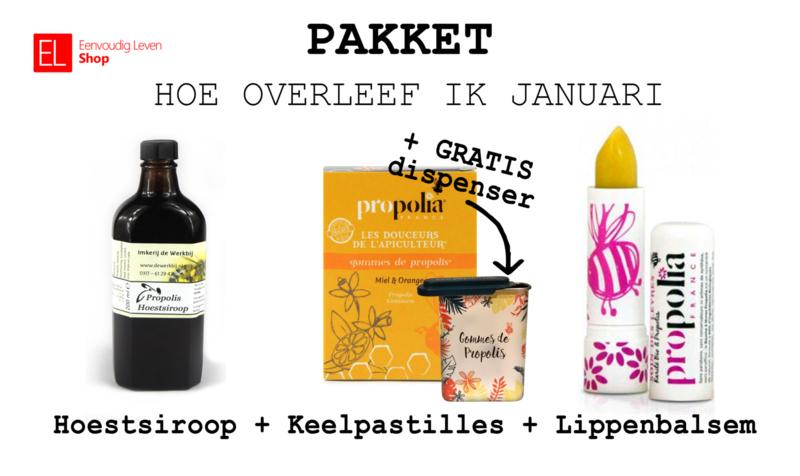 Aanbieding Hoe overleef ik januari - Hoestsiroop - Keelpastilles - Lippenbalsem - Dispenser
