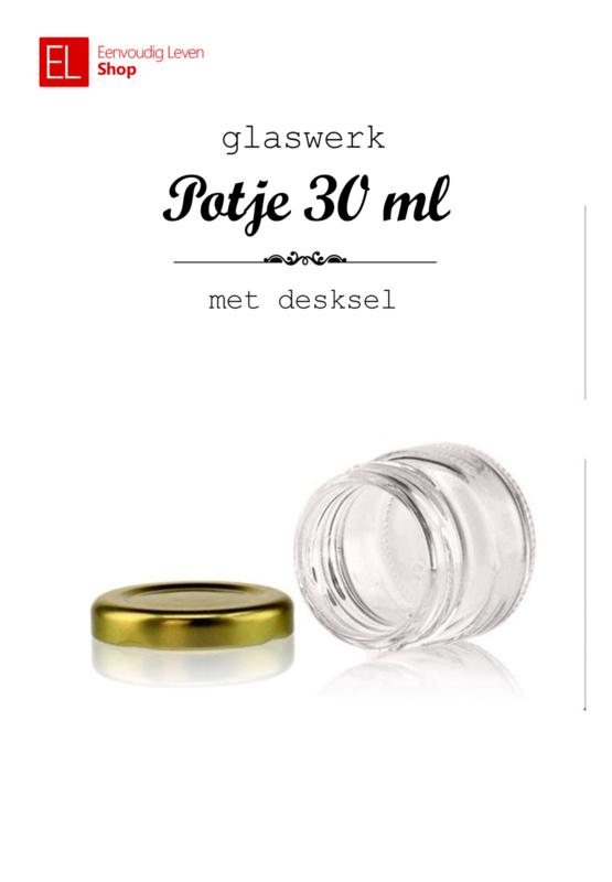 Glaswerk - potje 30 ml - met goudkleurig deksel - 6 stuks