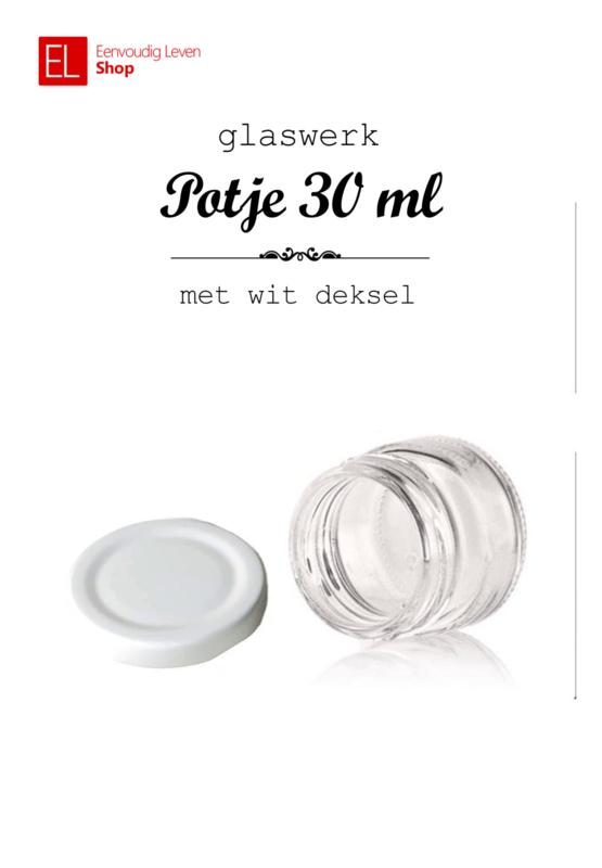 Glaswerk - potje 30 ml - met wit deksel - 6 stuks