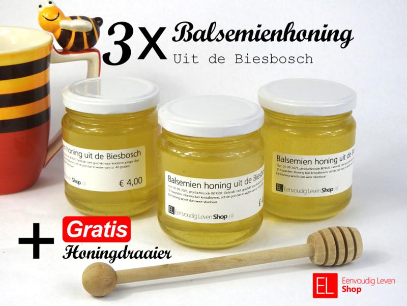 Honing - Actie - 3 x 230 ml Balsemienhoning uit de Biesbosch met GRATIS honingdraaier