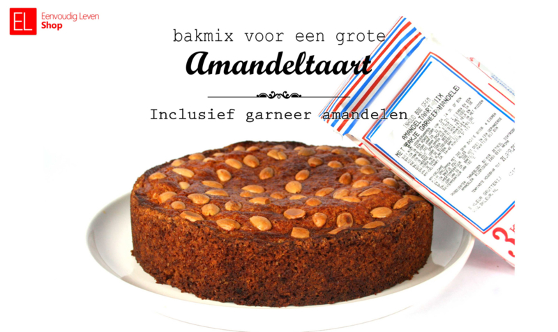 Bakmix - Amandeltaart - 600 gram - met zakje garneeramandelen -