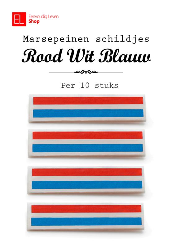Marsepeinen schildjes - rood wit blauw - 10 stuks