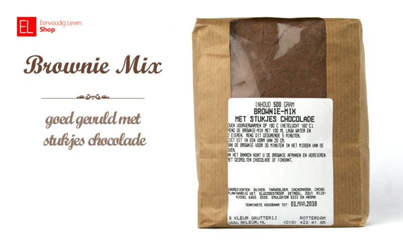 Browniemix met stukjes chocola 500 gram