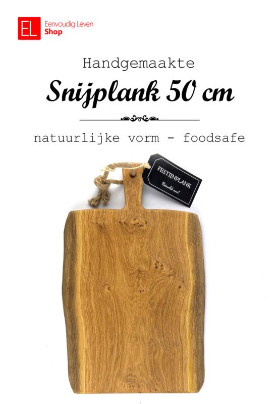 Handgemaakte foodsafe eiken snijplank - natuurlijke vorm - 50 cm