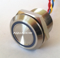 Piezo button Stainless Steel with blue LED ring
