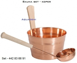 Sauna bucket copper (set)